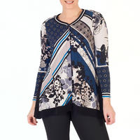 Riviera Floral Print Jersey Top With Contrast Trim Blue