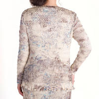 Lace Trim Crush Pleat Shrug Cream
