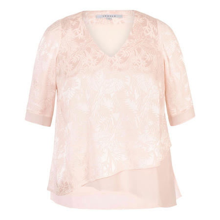 Blush Palm Leaf Jacquard Layered Tunic Pink