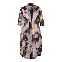 Black Lily & Rose Print Chiffon Coat