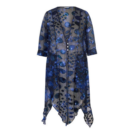 Midnight Abstract Oval Spot Satin Devoree Pixie Coat