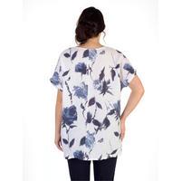 White/Navy Floral Print Linen Tunic