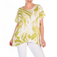 White/Apple Print Linen Top