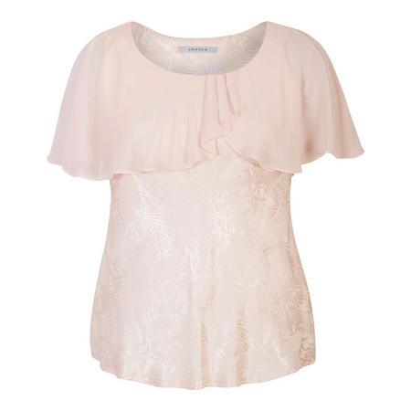 Blush Chiffon Cape Trim Jacquard Top Pink