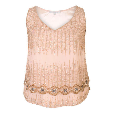 Blush Chiffon V-Neck Beaded Top Pink