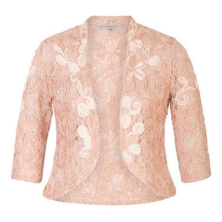 Blush/Ivory Ombre Cornelli Lace Jacket Pink