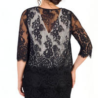 Scallop Trim Lace Jacket Black