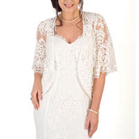 Scallop Sleeve Embroidered Lace Shrug