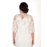 Ivory Scallop Sleeve Embroidered Lace Shrug White