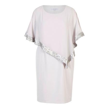 Sequin Trim Cape Dress