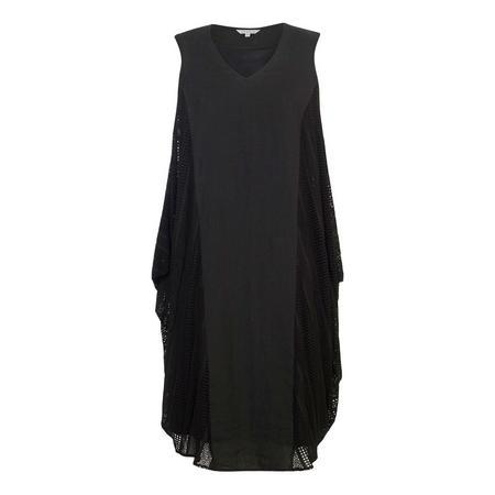 Black Squares & Stripe Mesh Trim Linen Dress