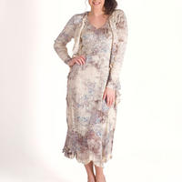 Lace Trim Crush Pleat Dress