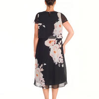Floral Bloom Print Chiffon Dress Multicolour