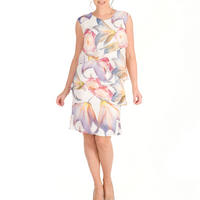 Blonde Lily & Rose Print Layered Chiffon Dress