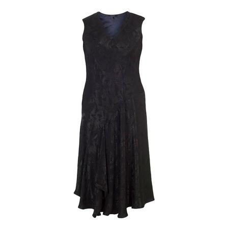 Black Satin Back Crepe Jacquard Dress