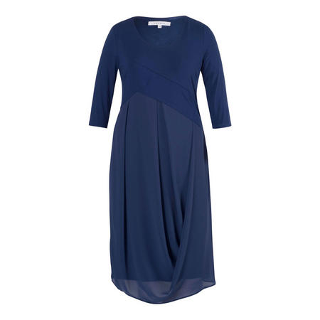 Riviera Jersey Bodice Chiffon Drape Dress Blue
