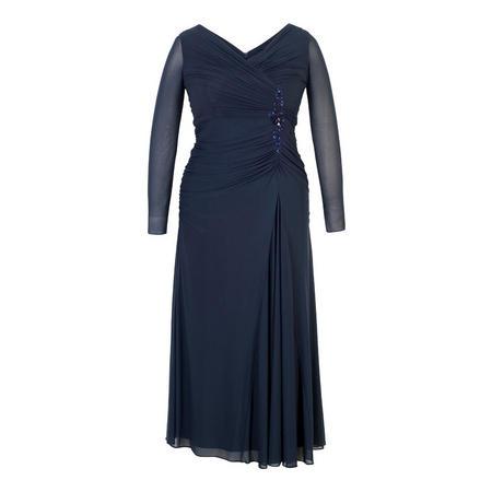 Ruched Bead Trim Mesh Dress