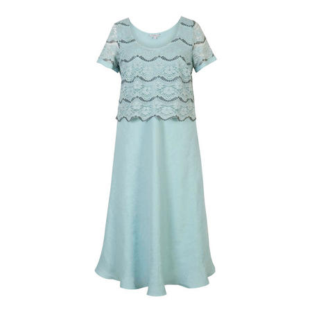 Linen Dress with Scallop Lace Bodice