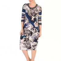 Riviera Floral Border Print Jersey Dress Blue