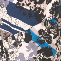 Riviera Floral Border Print Jersey Dress Blue