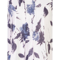 White/Navy Floral Print Pintuck Linen Dress