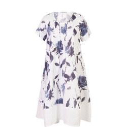 White/Navy Floral Print Pintuck Linen Dress