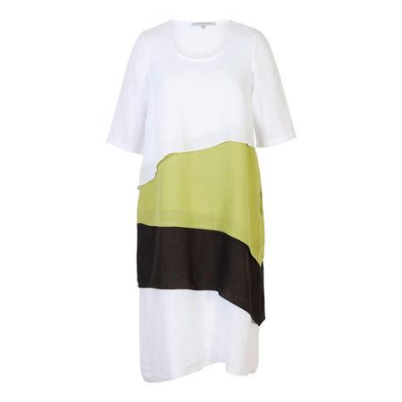 White/Apple/Black Layered Linen Dress