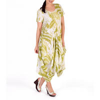 White/Apple Printed Drape Dress