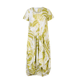 White/Apple Printed Drape Dress