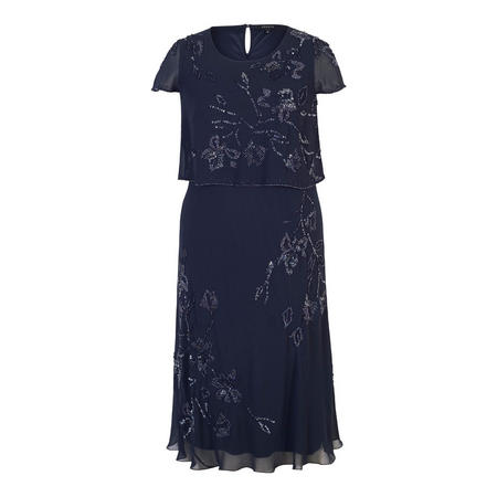 Navy Beaded & Embroidered Double Layer Chiffon Dress