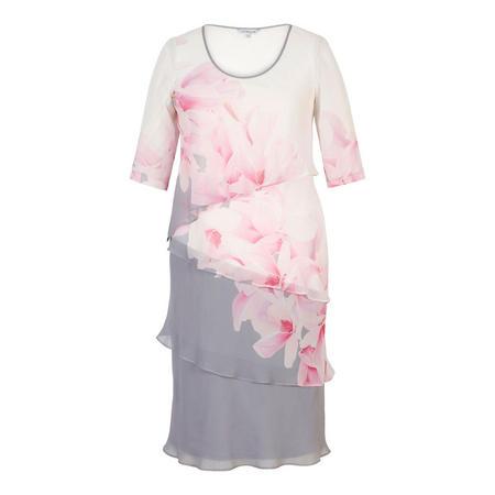 Grey/Rose/Pink/Ivory Garland Border Detail Multi Layered Chiffon Dress