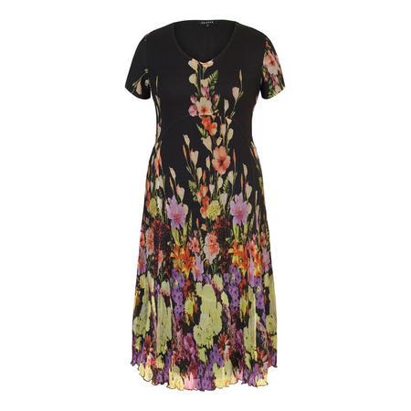 Floral Border Crush Pleat Dress