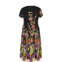 Floral Border Crush Pleat Dress