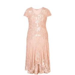Blush/Ivory Ombre Cornelli Lace Dress Pink