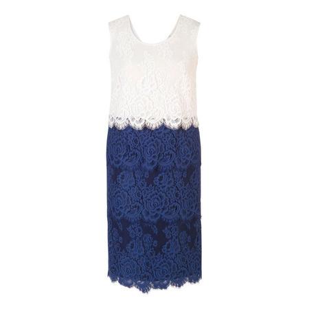 Riviera Scallop Trim Tiered Lace Dress Blue