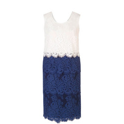 Riviera Scallop Trim Tiered Lace Dress Blue