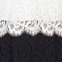 Scallop Trim Tiered Lace Dress Black