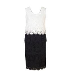 Scallop Trim Tiered Lace Dress Black