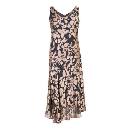 Rose Gold/Pewter Leaf Devoree Godet Trim Dress