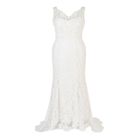 Ivory Scallop Embroidered Lace Wedding Dress With Train White