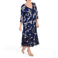 Cobalt/Pebble/Ivory Cornelli Mesh Dress