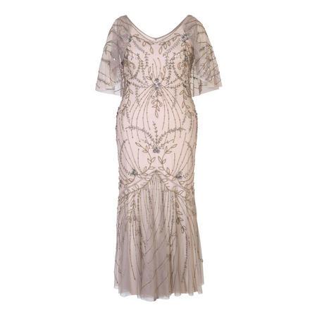 Cape Trim Beaded Mesh Dress Grey