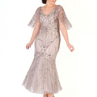 Cape Trim Beaded Mesh Dress