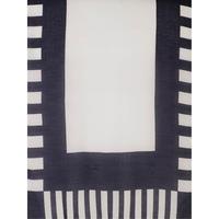Navy/White Stripe Scarf with Tasselled Trim