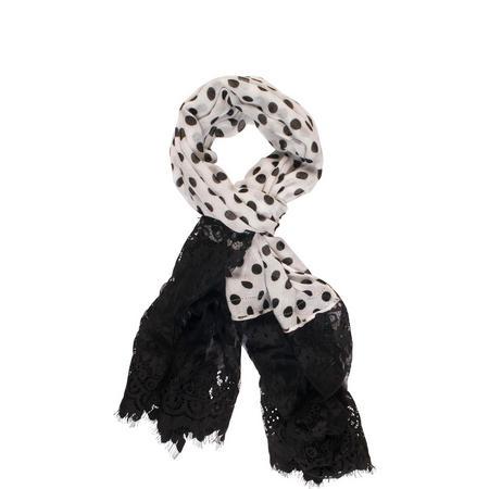 Black/White Polka Dot Scarf with Lace Trim