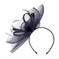Crin Veil with Sinamay Loops & Feather Band Fascinator Navy