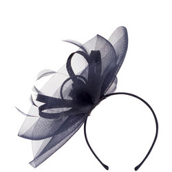 Crin Veil with Sinamay Loops & Feather Band Fascinator