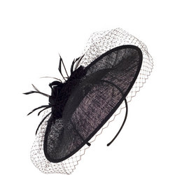 Sinamay Disc with Veil & Feather Hatinator Black