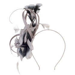 Flower Quill Band Fascinator Silver