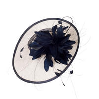 Ivory/Navy Sinamay Brim on Band with Large Feather Flower Hatinator